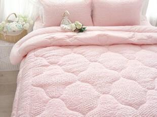 韩国进口代购 床品短绒粉色婚庆被子套件床上用品1.8四件套,婚庆,
