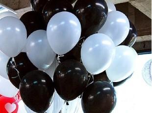 【黑白配】10寸珠光气球 拍照摄影气球 婚庆布置 白色+黑色气球,婚庆,