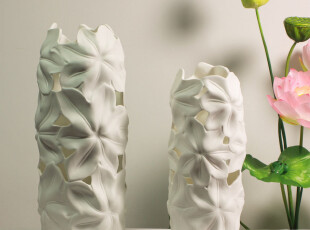 结婚礼物 现代时尚摆件花瓶 陶瓷家居饰品 镂空荷叶花纹 百年好合,婚庆,