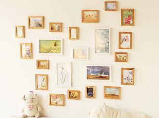 创意蝴蝶照片墙 实木相框组合相片墙 适合生活照宝宝成长结婚照,婚庆,