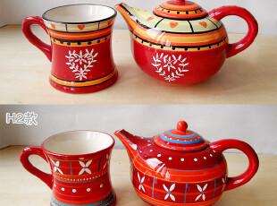 婚庆结婚 彩绘陶瓷 餐具 茶具 红色茶壶 水壶 900-1000毫升,婚庆,