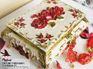 包邮 俄罗斯彩锡玫瑰首饰盒 欧式大号带锁扣 结婚礼物 生日礼物,婚庆,