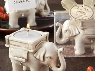 欧式婚庆婚礼回礼 创意礼品幸运小象Candle holder礼盒结婚用品,婚庆,