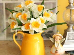 秒杀【5折包邮】英式洋水仙+西班牙花瓶仿真花套装花艺 结婚礼物,婚庆,