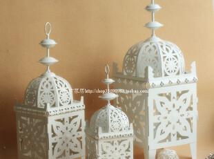 奶白色铁艺烛台/摩洛哥风格/软装配饰/蜡烛台/摄影道具/婚庆摆设,婚庆,