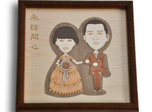 优刻人创意结婚礼物婚房新房摆件 实用婚庆礼品定制人物木质摆件,婚庆,