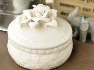日单zakka 迷你陶瓷雕花公主首饰盒 拍摄道具 结婚生日礼物,婚庆,