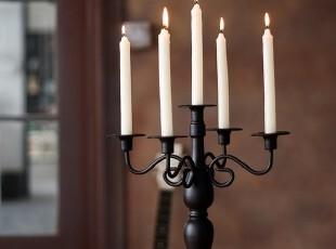 包邮 欧式古典黑色五头铁艺餐桌烛台 浪漫婚礼婚庆用品摆件,婚庆,