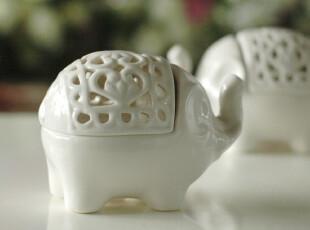 【心语心愿】陶瓷古典香薰炉|欧式蜡烛烛台 婚庆装饰摆设娄空大象,婚庆,