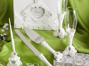 katemelon童话马车婚礼用品 结婚签到本签到笔婚礼酒杯蛋糕刀铲,婚庆,