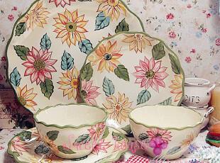 LONGABERGER外贸陶瓷欧式中西碗盘结婚礼物彩绘太阳花餐具套装,婚庆,