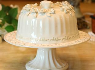 美屋 欧式陶瓷镂空花纹 蛋糕盘架糕点盘 家居摆设 结婚礼物,婚庆,