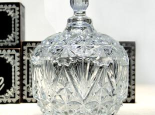 米子家居居家用品zakka风格婚庆摆件 多棱角透明玻璃糖果储物罐,婚庆,