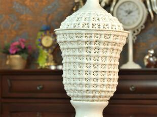 麦秋/MaiQiu 陶瓷瓶 收纳缕空 新古典风格摆件 结婚送礼,婚庆,