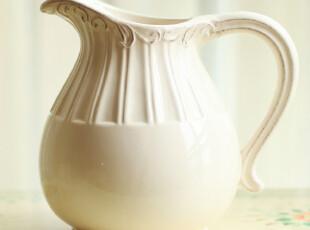 玐玖琦珥家装家饰欧式结婚礼物陶瓷单耳花瓶白色翠绿两色浮雕花器,婚庆,