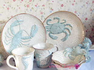 BLUESKY外贸陶瓷地中海风碗盘杯子结婚礼物浮雕海底世界餐具套装,婚庆,