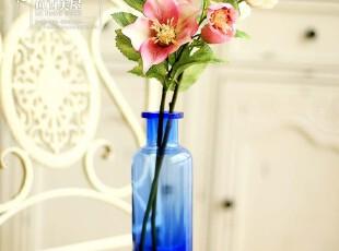 四皇冠【8折】夏堇花+创意玻璃花瓶 仿真花套装整体花艺结婚礼物,婚庆,