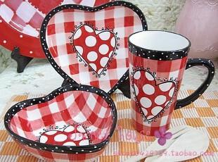 外贸彩绘陶瓷浪漫结婚礼物英伦红小格甜心情侣碗盘杯套装3件套,婚庆,