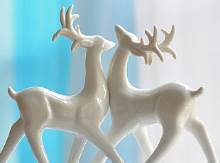 【柠檬树】创意陶瓷梅花鹿摆件摆设 家居装饰工艺品 婚庆礼品,婚庆,