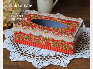 zakka杂货 粉色铁皮纸巾盒 婚庆红色喜庆 磨砂质 抽取式 100抽,婚庆,