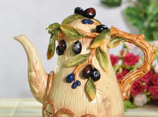 贸出口 新居/结婚礼品 田园乡村风格橄榄 陶瓷茶壶/水茶  3,婚庆,