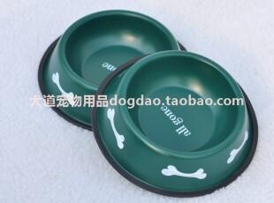 不锈钢烤漆军绿色21.5厘米狗碗狗盆食盒水盆狗饭碗雪纳瑞边牧等用,宠物用品,