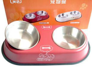 宠物食盆 狗猫兔兔食盆 狗碗 食盆双碗 不锈钢碗 江浙沪满69包邮,宠物用品,