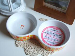 100%日单 zakka双格陶瓷宠物碗 猫狗碗 陶食器,宠物用品,