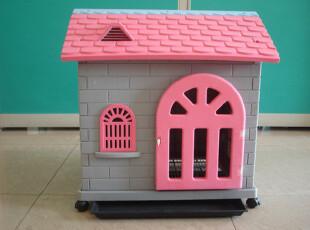 广东包快桂盛坤大型宠物房子彩色塑料狗屋猫窝带轮子内有厕所托盘,宠物用品,