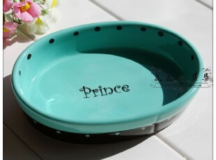 外贸手绘陶瓷 PETSTUDIO蓝黑 宠物碗 猫碗 狗碗 外贸宠物食具,宠物用品,