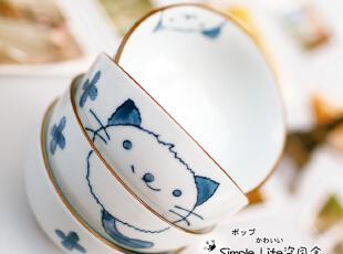 手绘青花瓷乖猫宠物创意陶瓷碗 微波炉米饭碗景德镇日式餐具套装,宠物用品,