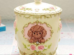 『韩国网站代购』不能缺少的情调 宫廷宠物泰迪犬小物收纳罐,宠物用品,