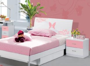 简迪 青少年床 特价床 板床 儿童床 公主床 单人床 粉色 QC11,床,