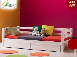 包物流 环保实木床 儿童床 松木单人床 创意儿童床 带抽屉PF002,床,