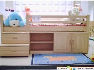 田园松木家具松木儿童床组合储物床楼梯床儿童套房家具,床,