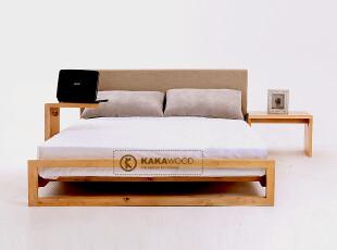 kakawood原木 实木床 纯榆木床 软靠软包床 1.5米1.8米单双人床,床,