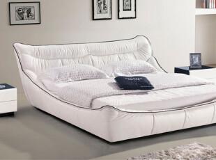 【玛奇朵家居】668现代时尚真皮床 双人床 软床婚床 1.8米包物流,床,