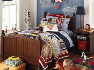 定制/定做全实木 美式乡村儿童家具 男孩床 单人床 儿童床 P016,床,