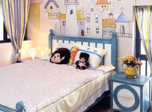 2012地中海田园 普罗旺斯浪漫蓝白相间实木床 家具可定制,床,