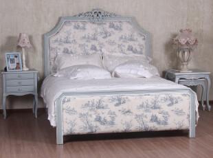 似水年华 欧式实木床  田园双人床1.8米 布艺双人床1.5米橡木床绿,床,