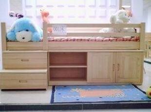 松木实木家具儿童床单人床组合床可爱全实床儿童套房家具,床,
