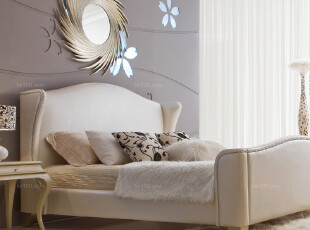 KLKM 简欧风尚 卧室家具 柔软舒适 真皮 双人床1.8米,床,