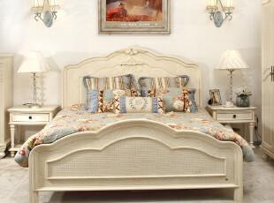华日家居美式田园家具洛可可实木框架双人床1.8米简约现代C046024,床,