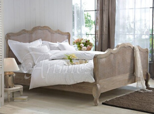 特惠出口欧洲伊莲恩浪漫法式路易风格实木藤靠背双人床180预订,床,