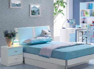 央视展播品牌 时尚简约儿童家具套房组合 儿童单人床 1.5米儿童床,床,