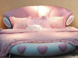 圆床 浪漫粉红色婚床 双人床 实木床 真皮床 软床 皮艺床,床,