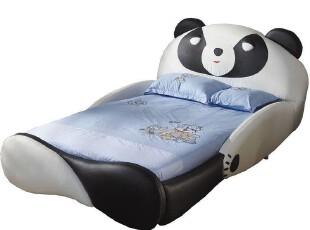 【家具精品馆】儿童家具1.2-1.5米可爱熊猫床 订制卡通皮质床X64,床,
