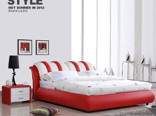 欧瑞家具 品牌真皮床 现代时尚真皮软床 1.8米新款带软包双人皮床,床,