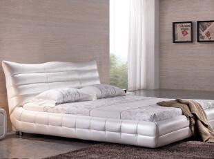 进口真皮床 软床 双人 进口头层真皮 时尚新古典 淘宝新风尚 包邮,床,
