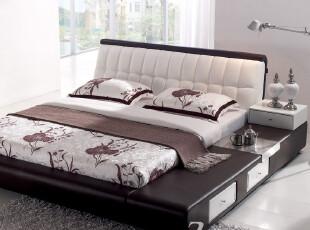 一善一品 现货包物流真皮床双人床特价1.8米1.5米软床储物床 P308,床,